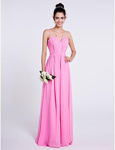 Sheath / Column Spaghetti Straps Floor Length Chiffon Bridesmaid Dress with Draping Ruching by LAN TING BRIDE®