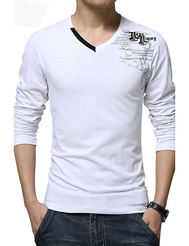 男性用 プリント カジュアル / プラスサイズ Tシャツ,長袖 コットン / スパンデックス,ブラック / ブルー / ホワイト