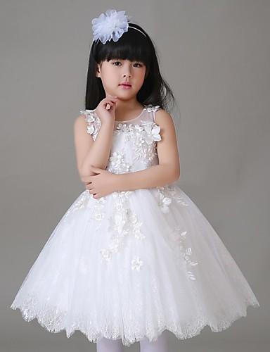 A-line knelengde blomst jente kjole - tulle ermeløs juvel hals med blomst