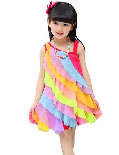 Pigens Kjole Rayon Regnbue Casual/hverdag Sommer Flerfarvet