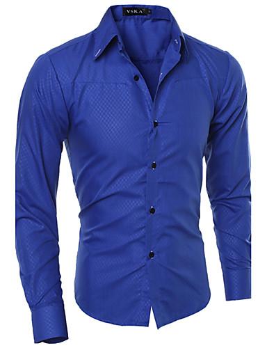 Hombre Algodón Camisa Un Color
