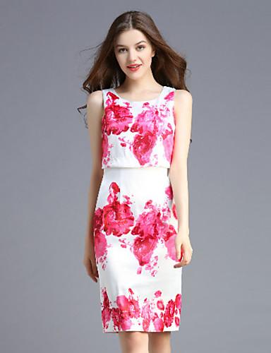 Mujer Recto Vestido Casual/Diario / Tallas Grandes Vintage,Floral Escote Redondo Sobre la rodilla Sin Mangas Rosa Poliéster VeranoTiro