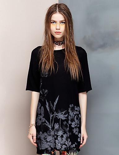 Damen Blumen Einfach Ausgehen T-shirt,Rundhalsausschnitt Sommer ½ Länge Ärmel Kunstseide Elasthan Dünn