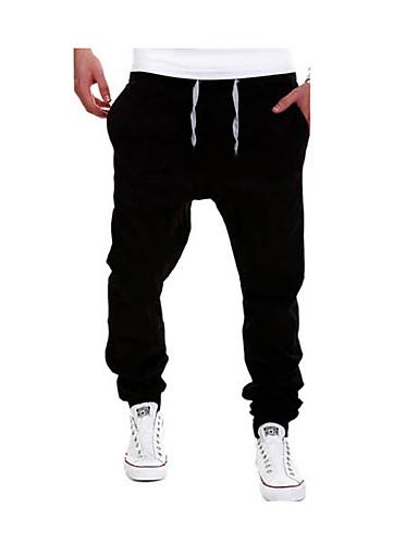 お買い得  メンズパンツ&ショーツ-男性用 活発的 プラスサイズ コットン スウェットパンツ パンツ - ソリッド ライトブルー / スポーツ / 週末