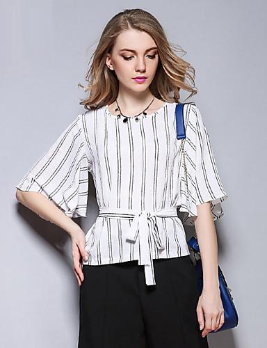 Sybel kvinners casual / daglig enkel vår / sommer t-skjorte, stripete rund hals kortermet hvit bomull medium