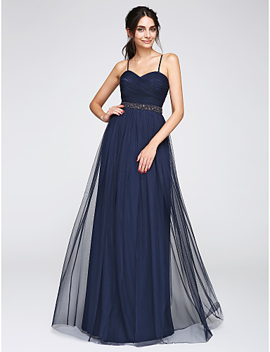 Γραμμή Α Λεπτές Τιράντες Μακρύ Τούλι Χοροεσπερίδα / Επίσημο Βραδινό Φόρεμα με Χάντρες Χιαστί με TS Couture®