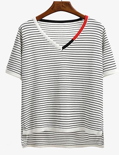 Kortærmet V-hals Medium Kvinders Blå / Hvid / Sort Stribet Forår / Sommer Street I-byen-tøj / Casual/hverdag T-shirt,Bomuld