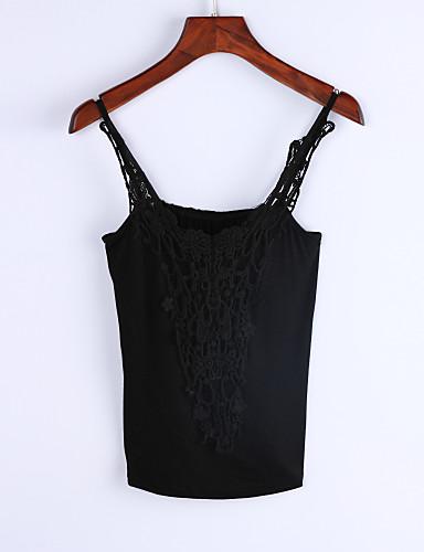 Nais- Hihaton Keskipaksu V kaula-aukko Puuvilla / Polyesteri Yksinkertainen Rento/arki T-paita,Yhtenäinen Beesi / Musta