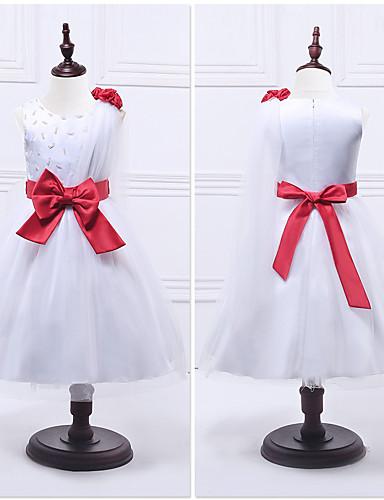 Kjole kjole te længde blomst pige kjole - organza ermeløs juvel hals med perle