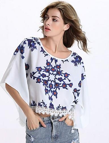 1/2 ærmelængde Rund hals Medium Kvinders Hvid Trykt mønster Sommer Simpel I-byen-tøj Bluse,Bomuld / Polyester