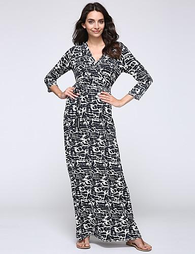 Sukienka - Obuwie damskie - Wycięcia - Maxi - Długi rękaw - Głęboki dekolt w serek