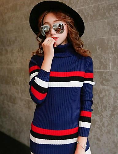 Dame Simpel / Sødt I-byen-tøj / Casual/hverdag Normal Pullover Farveblok,Blå Rullekrave Langærmet Bomuld Forår / Vinter Medium
