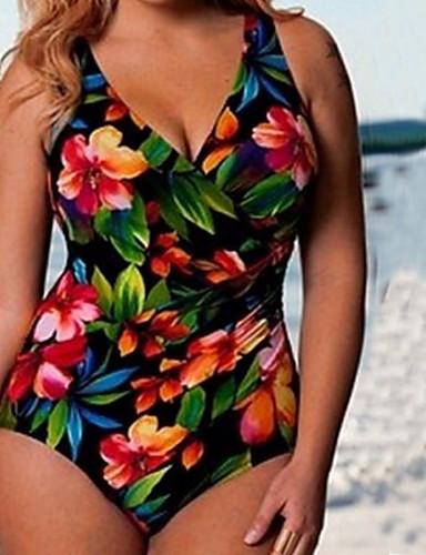 Dame En del Badetøj Blomster,Bandeau Polyester,Grøn