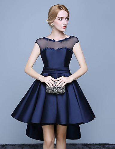 Ballkleid Illusionsausschnitt Asymmetrisch Spitze Satin Cocktailparty Abschlussball Kleid mit Spitze Schärpe / Band durch TS Couture®