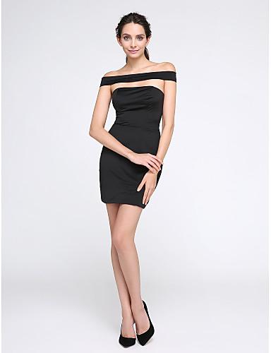 Tube / kolonne Løse skuldre Kort / mini Jersey Cocktailfest / Ball / Skoleball Kjole med Plissert av TS Couture®