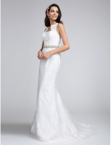 Trompete / Meerjungfrau Queen Anne Hof Schleppe Spitze Hochzeitskleid mit Perlenstickerei Spitze durch LAN TING BRIDE®
