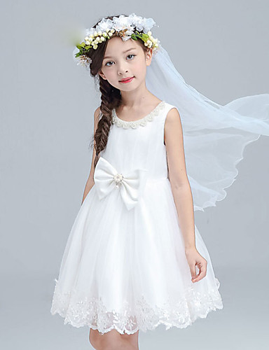 A-line knælængde blomsterpige kjole - bomuld satin tulle ærmerøs juvel hals med perle