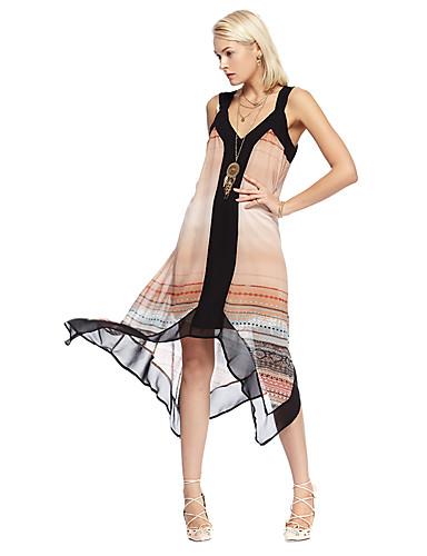 Dame I-byen-tøj Løstsiddende Kjole Delt Trykt mønster Asymmetrisk Med stropper