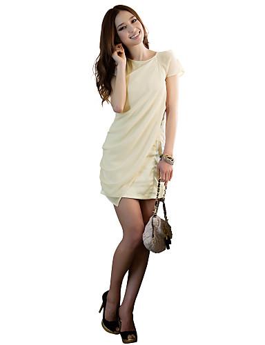 Γυναικεία Φόρεμα Δίχτυ Στρογγυλή Ψηλή Λαιμόκοψη Πάνω από το Γόνατο Κοντομάνικο Spandex/Πολυεστέρας
