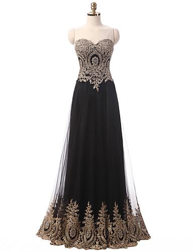 A-Linie Sweetheart Boden-Länge Tüll Formeller Abend Kleid mit Applikationen Rüschen durch TS Couture®