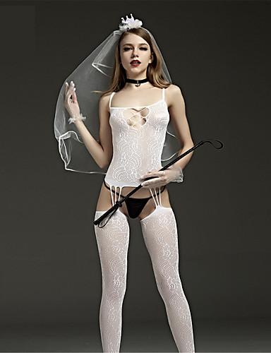 Damen Teddy Besonders sexy Dessous mit Strumpfband Nachtwäsche - mit Schnürung, Jacquard