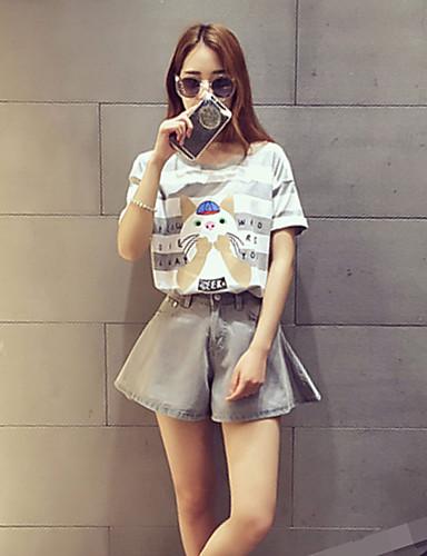 Dames Street chic Zomer Set Pantalon Suits,Casual/Dagelijks Gestreept / Print Ronde hals Korte mouw Grijs Katoen Dun