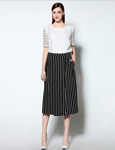 mary yan& yu kvinders gå ud simpel sommer sæt, stribet rund hals ¾ ærme hvid linned medium