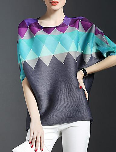 Dames Verfijnd Lente T-shirt,Nette schoenen Kleurenblok Ronde hals Halflange mouw Meerkleurig Rayon Dun