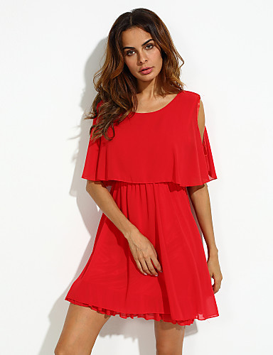 Kadın's Büyük Bedenler Kelebek Kol Salaş Şifon Elbise - Solid, Oyuklu Fırfırlı Yüksek Bel