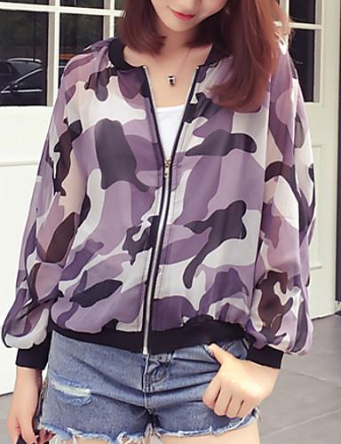 Vrouwen Street chic Herfst Jack,Uitgaan / Casual/Dagelijks camouflage Opstaand Lange mouw Paars Polyester Dun