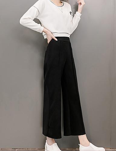 De las mujeres Pantalones Perneras anchas-Simple Microelástico-Poliéster