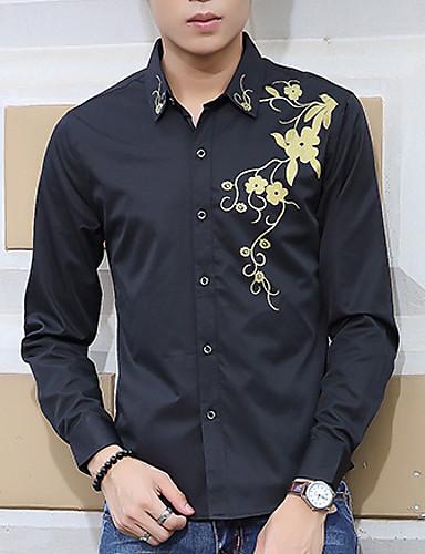 Herre-Ensfarvet Trykt mønster Chic & Moderne Skjorte