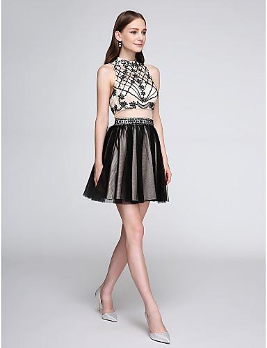 Linha A Gola Alta Curto / Mini Tule Coquetel Reunião de Classe Baile de Fim de Ano Vestido com Miçangas de TS Couture®