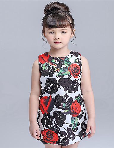 Menina de Vestido Casual Floral Verão Algodão Sem Manga