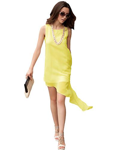 Damen Kleid - Lose Übergröße / Sexy / Retro / Party / Arbeit / Strand / Niedlich Solide Midi Polyester / Chiffon Rundhalsausschnitt