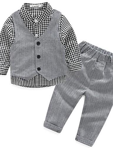 Drenge Ternet / Pænt tøj Afslappet / Hverdag Ternet Langærmet Kort Kort Bomuld Tøjsæt