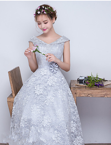 A-line off-the-shoulder tee lengte kant bruidsmeisje jurk met sjerp / lint