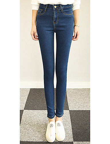 Kvinders Simpel Tætsiddende / Jeans Bukser Mikroelastisk Bomuld / Polyester