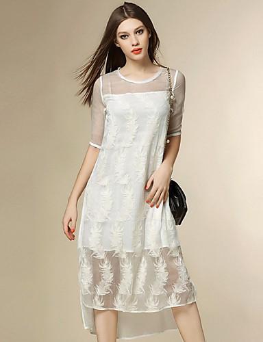 engel kvinders gå ud street chic løs kjole, jacquard rund hals asymmetrisk ½ længde ærme silke sommer
