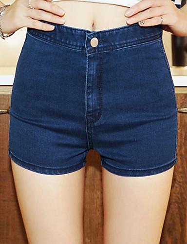 Kvinders Simpel / Street Straight / Jeans Bukser Mikroelastisk Bomuld