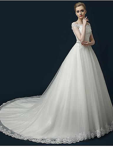 A-Linie Prinzessin Schulterfrei Kathedralen Schleppe Tüll Hochzeitskleid mit Perlenstickerei Applikationen Rüsche durch LAN TING BRIDE®