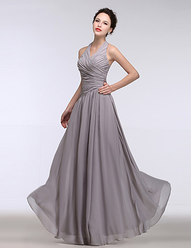 A-line halter gulvlængde chiffon brudepige kjole med side drapering