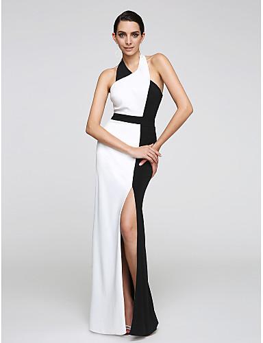 Eng anliegend Halter Boden-Länge Chiffon Abiball Formeller Abend Kleid mit Vorne geschlitzt durch TS Couture®