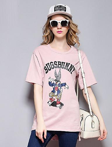 sybel kvinders afslappet / daglig simple sommer t-shirt, udskrive rund hals kortærmet lyserød bomuld medium
