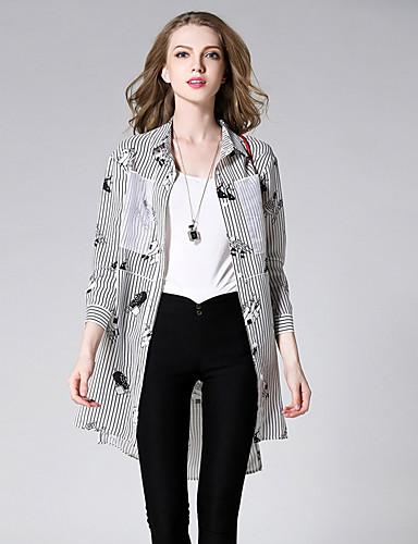 Sybel kvinners casual / høst skjorte, stripete skjorte krage langermet svart polyester / nylon medium