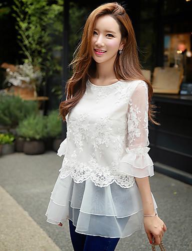 dabuwawa vrouwen uitgaan / casual / vakantie leuke / straat chic / verfijnde blouse, vast / geborduurd ronde hals ¾ mouw