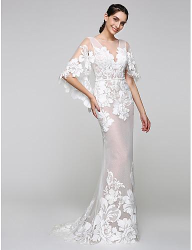 Sereia Decote V Cauda Escova Tule / Renda Transparente / Renda sobre Tule Vestidos de casamento feitos à medida com Apliques de LAN TING BRIDE® / Transparências