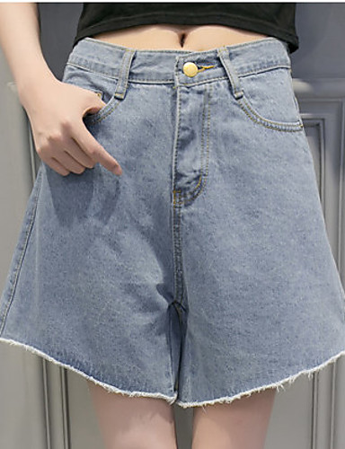 Kvinders Simpel Jeans / Shorts Bukser Mikroelastisk Bomuld