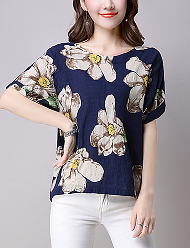 Kortærmet Rund hals Solid Kvinders Blå Trykt mønster Forår / Sommer Street I-byen-tøj / Casual/hverdag T-shirt,Hør