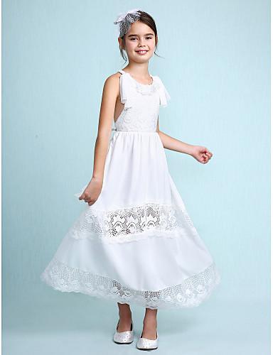 A-line nilkkapituus kukka tyttö mekko - sifonki hihaton kaula-aukko, jonka pitsi lan ting bride®